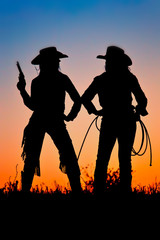 Silhouette of Cowgirls