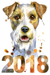 Watercolor portrait of airedale terrier dog