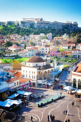 Canvas Prints Athens Cityscape of Athenth with Moanstiraki square and Acropolis hill, Athens Greece, retro toned