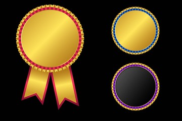 Gold, Silver and Bronze award medal and ribbon for the winner. vector round empty polished medal .Template for awards, quality mark, diplomas and certificates