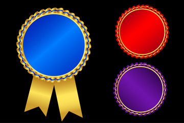 Gold labels award .Empty space for text. Template for awards, quality mark, diplomas and certificates.on sun ray background