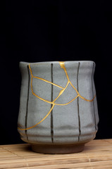A handmade pot made that was broken and I repaired with the Japanese art form of kintsugi.
