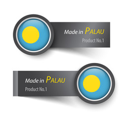 Flag icon and label with text made in Palau