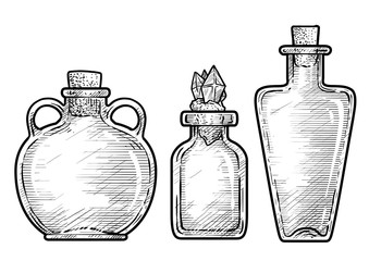 Potion, medicine bottle illustration, drawing, engraving, ink, line art, vector