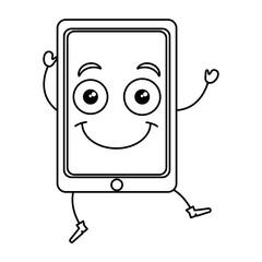 smartphone device kawaii character vector illustration design