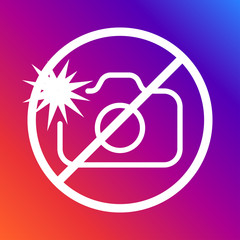 A sign prohibiting photographing with a flash on a colored background. Editable stroke