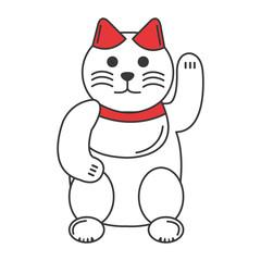 japanese cat luck icon vector illustration design