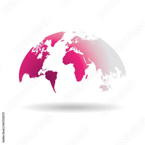 Pink world map globe isolated on white background stock image and pink world map globe isolated on white background gumiabroncs Image collections
