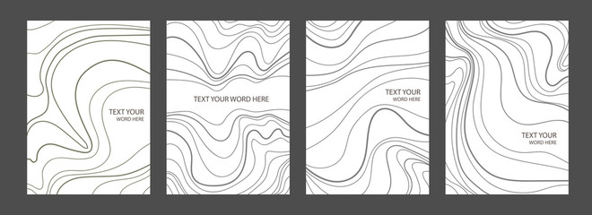 Set of 4 minimal marble graphic covers design. Simple poster template in black and white.