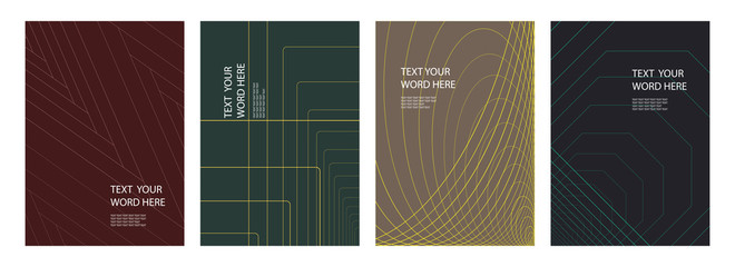 Set of 4 minimal geometric graphic covers design. Simple poster template. Vector illustration. Wall mural