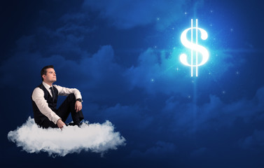 Man sitting on a cloud dreaming of money