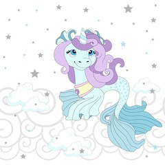 Cute pony on a beautiful background. Vector illustration.