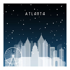Winter night in Atlanta. Night city in flat style for banner, poster, illustration, game, background.