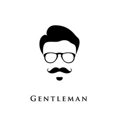 Gentleman portrait. Man with hairstyle, mustache and eyeglasses.