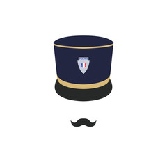 France police officer in hat. Policeman avatar. Vector illustration.