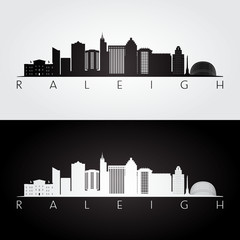 Raleigh USA skyline and landmarks silhouette, black and white design, vector illustration.