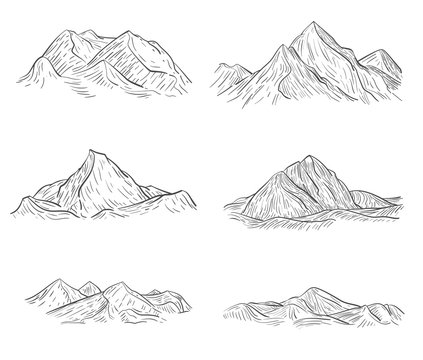Set of hand drawn mountains sketch in engraving style. Vector illustration.