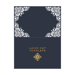 Vector wedding card laser cut template. Vintage decorative elements design