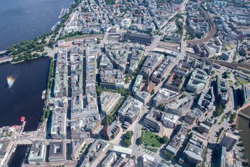 Germany, Hamburg and suburbs. Panorama frome above