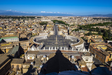 Vatican St. Peter's Square from the top of st piere cathedral