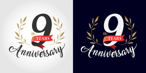 9 years anniversary number hand lettering and golden laurel wreath. Handmade calligraphy, Vintage style