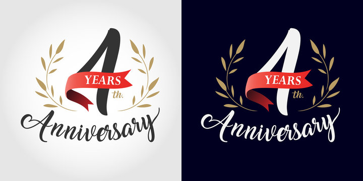 4 years anniversary number hand lettering and golden laurel wreath. Handmade calligraphy, Vintage style