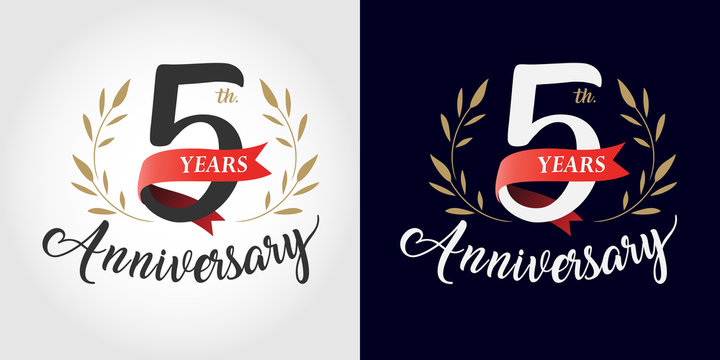 5 years anniversary number hand lettering and golden laurel wreath. Handmade calligraphy, Vintage style