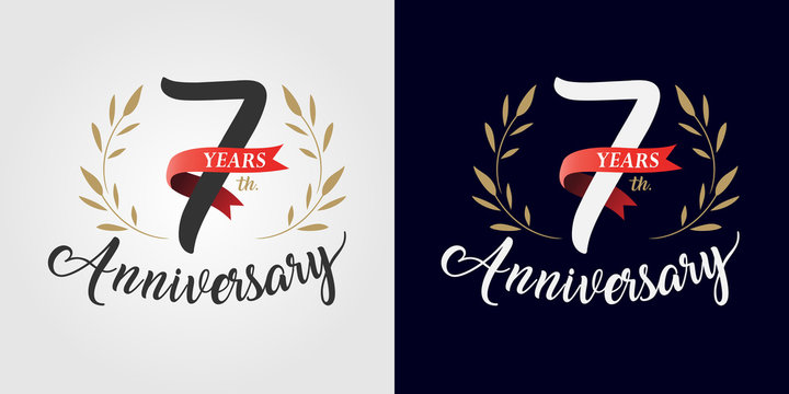 7 years anniversary number hand lettering and golden laurel wreath. Handmade calligraphy, Vintage style
