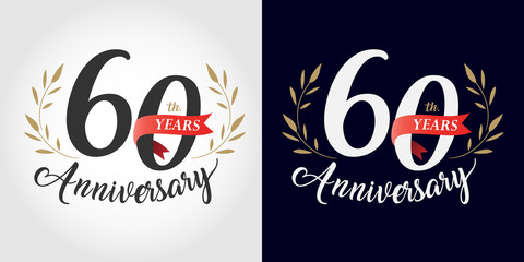 60 years anniversary number hand lettering and golden laurel wreath. Handmade calligraphy, Vintage style