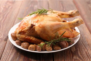 roasted whole chicken with chestnut