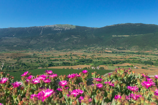 Idyllic rural green valley landscape with mountains in Italian Abruzzo