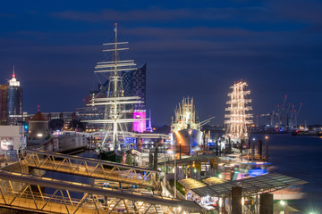 Hamburg, Germany, Harbour at night