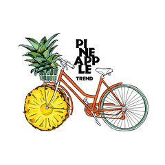Poster design. Retro bicycle with a fruit pineapple wheel. Green top outlet in the basket. Vector illustration.