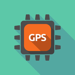 Long shadow cpu with  the Global Positioning System acronym GPS
