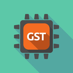 Long shadow cpu with  the Goods and Service Tax acronym GST