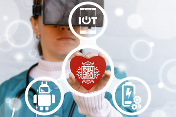 Medical Cardiology Circuit Board Virtual Augmented Reality Information Innovative Technologies concept. Doctor in vr glasses offers heart with processor icon on a virtual graphical user interface.