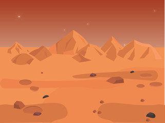Mars landscape, vector space background seamless