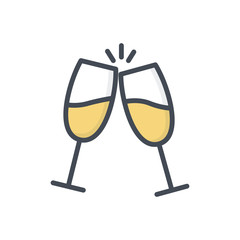 Wedding colored icon champagne glass