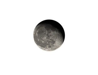 Waning Gibbous moon on White Background, Clipping Path
