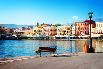 Spoed Fotobehang Blauw view of venetian habour of Chania at sunny day, Crete, Greece, retro toned