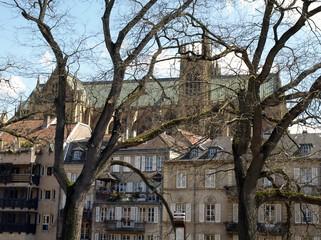 Ville de Metz avec vue sur la Cathédrale Saint-Etienne