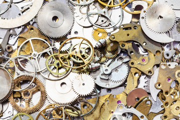 many used watch spare parts close up