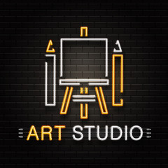 Vector isolated neon sign of easel and pencils for decoration on the wall background. Realistic neon logo for art studio. Concept of artist profession and creative process.