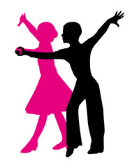 silhouette of a dancing couple. boy and girl on a white background