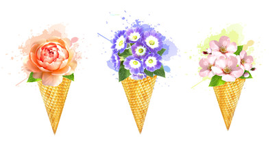 Wafer cones ice cream with bouquet of flowers.