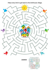 Maze game or activity page for kids: Help every bird to get back to the birdhouse village. Answer included.