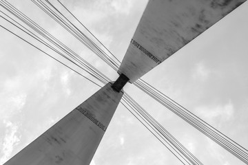 Metal bridge tower in black and white