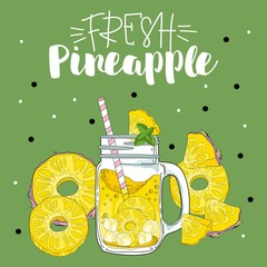 A poster with elements of pineapple and a glass. Lettering, for a fresh drink, pattern.