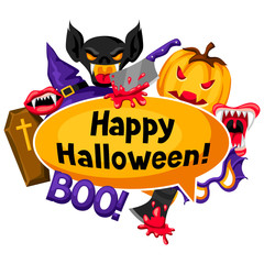 Happy Halloween background with cartoon holiday symbols. Invitation to party or greeting card