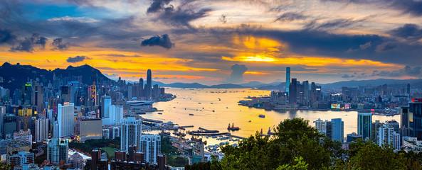 Victoria Harbor of Hong Kong at twilight